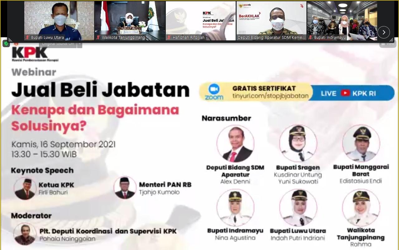 Webinar KPK, Rahma : Tidak Ada Jual Beli Dalam Pengisian Jabatan