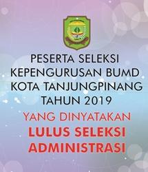 Peserta Seleksi Kepengurusan Badan Usaha Milik Daerah (BUMD) Kota Tanjungpinang Tahun 2019 Yang Dinyatakan Lulus Seleksi Administrasi